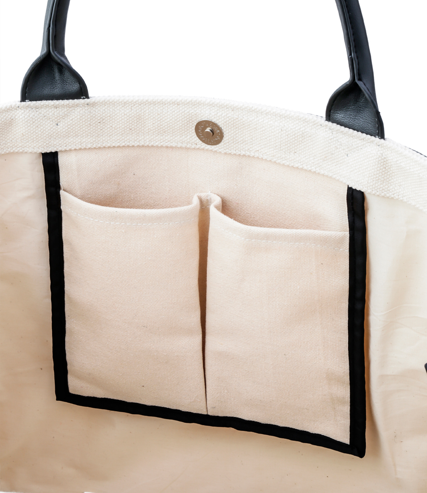 LEATHER MASKING CANVAS TOTE LARGE / WH