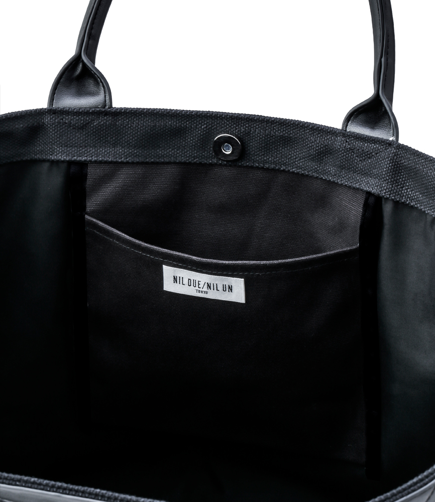 LEATHER MASKING CANVAS TOTE LARGE / BLK